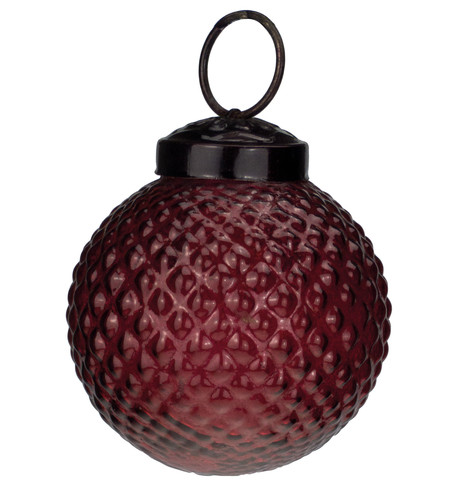 Red Glass Hobnail Baubles Red