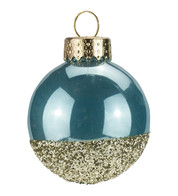 Blue Gold Glitter Baubles - Blue