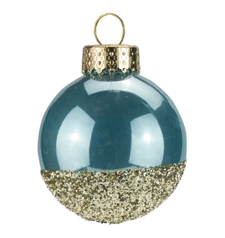 Blue Gold Glitter Baubles Blue