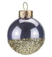 Lilac Gold Glitter Baubles - Purple