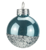 Blue Silver Glitter Baubles - Blue