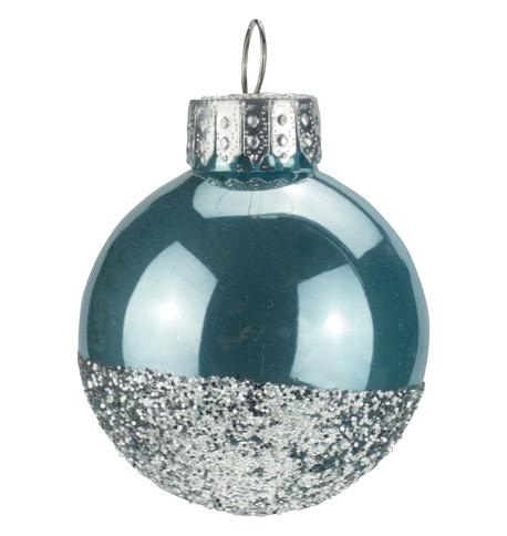 Blue Silver Glitter Baubles Blue