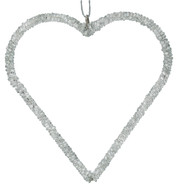 Silver Beaded Hearts - Blue