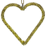 Gold Beaded Hearts - Gold