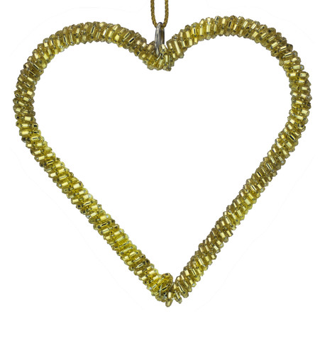 Gold Beaded Hearts Gold
