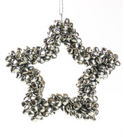 Silver Metal Star Bell Wreath - Silver