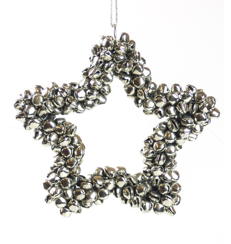 Silver Metal Star Bell Wreath Silver