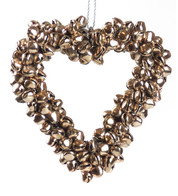 Rose Gold Metal Heart Bell Wreath - Rose Gold