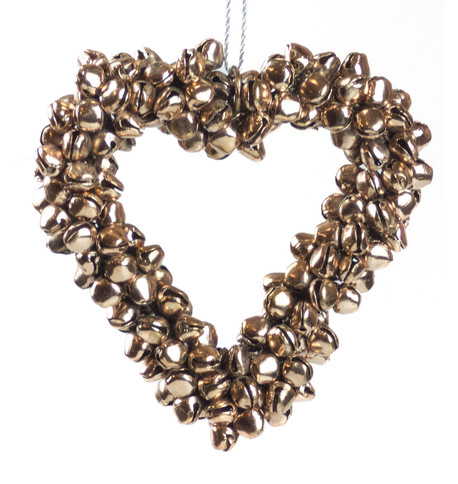 Rose Gold Metal Heart Bell Wreath Rose Gold