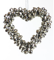 Silver Metal Heart Bell Wreath - Silver