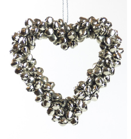 Silver Metal Heart Bell Wreath Silver