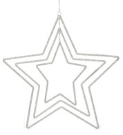 Silver Beaded Star Mobile - Silver