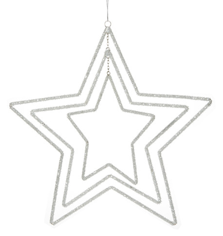 Silver Beaded Star Mobile Silver
