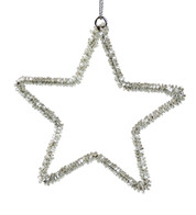 Silver Beaded Stars - Silver