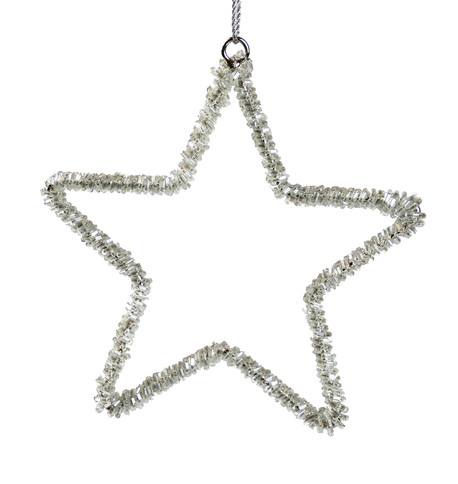 Silver Beaded Stars Silver
