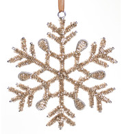 Rose Gold Glass Beaded Snowflakes - Rose Gold