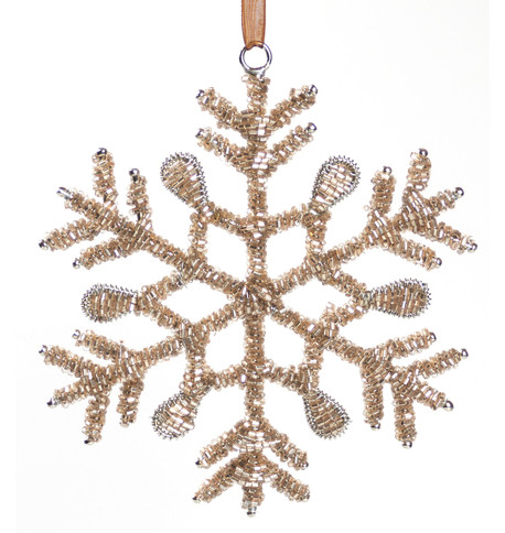 Rose Gold Glass Beaded Snowflakes Rose Gold