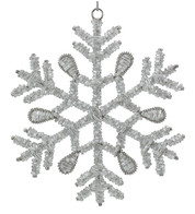 Silver Glass Beaded Snowflakes - Silver