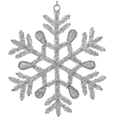 Silver Glass Beaded Snowflakes Silver
