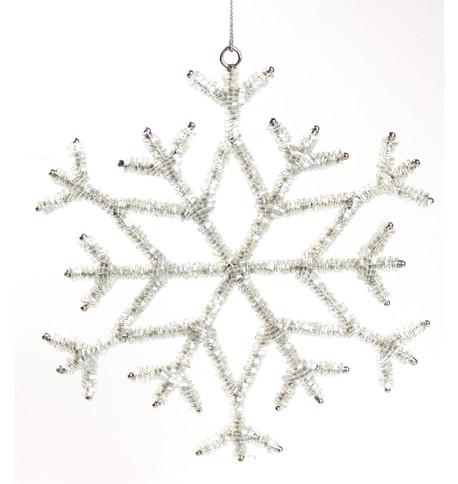 Silver Beaded Snowflake Silver
