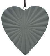 Ceramic Ridged Heart - Grey