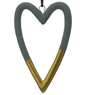 Grey & Gold Ceramic Hearts - Grey