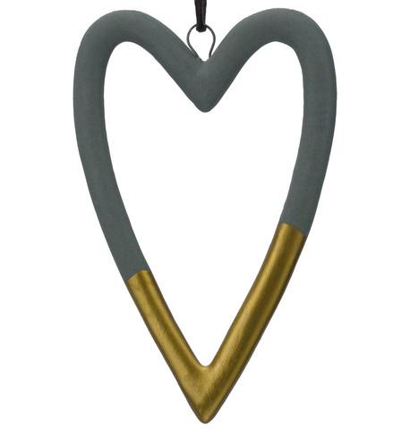 Grey & Gold Ceramic Hearts Grey & Gold