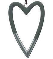 Grey & Silver Ceramic Hearts - Grey