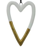 White & Gold Ceramic Hearts - White