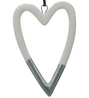White & Silver Ceramic Hearts - White