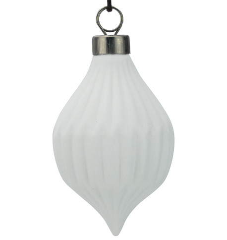 White Ceramic Ridged Drop White