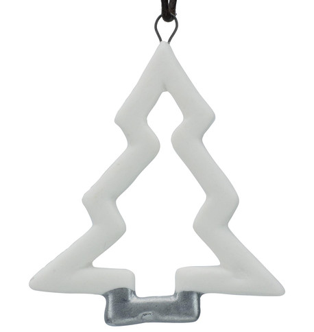White & Silver Ceramic Christmas Tree White & SIlver