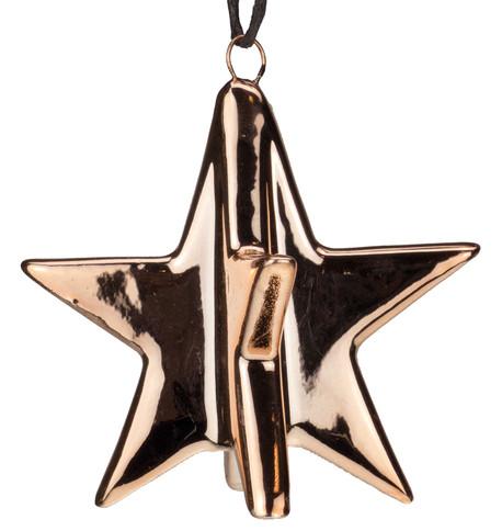 Rose Gold Metallic Glazed Stars Rose Gold
