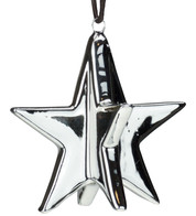Silver Metallic Glazed Stars - Silver