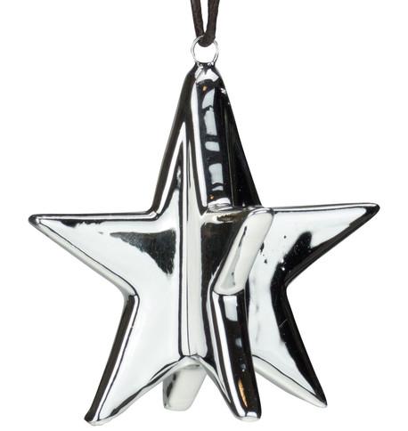 Silver Metallic Glazed Stars Silver