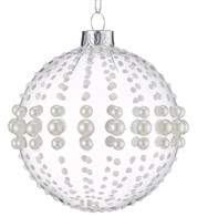 Pearl Beaded Glass Baubles - Clear