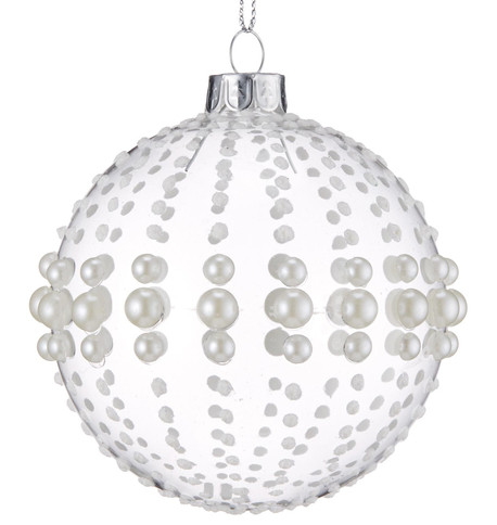 Pearl Beaded Glass Baubles Clear