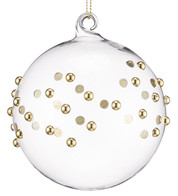 Gold Beaded Glass Baubles - Gold