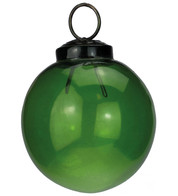Clear Green Glass Baubles - Green