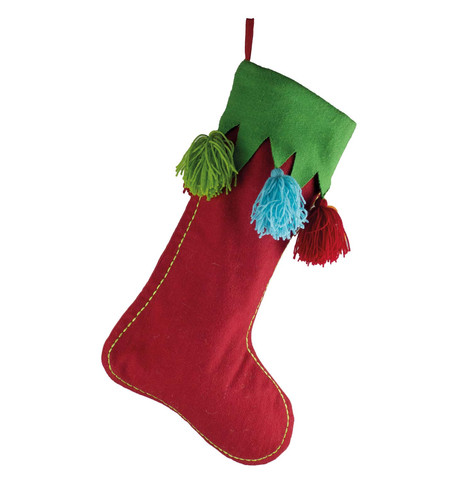 Red Tassel  Stocking Red