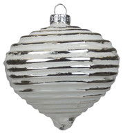 Silver Ribbed Glasss Onion - Silver