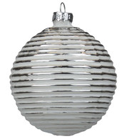 Silver Ribbed Glass Baubles - Silver