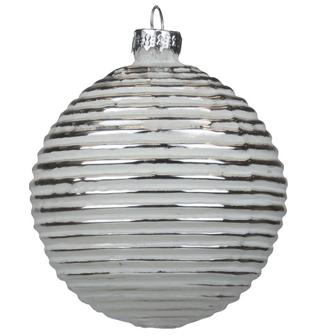Silver Ribbed Glass Baubles Silver