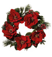 Red Magnolia Wreath - Red