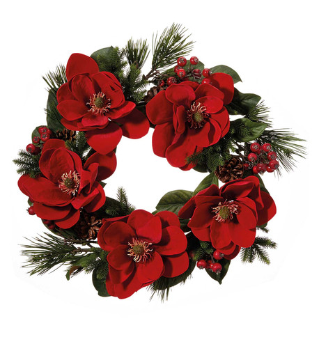 Red Magnolia Wreath Red