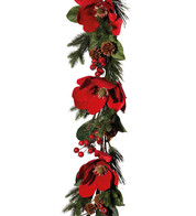 Red Magnolia Garland - Red