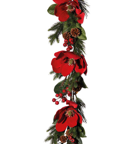 Red Magnolia Garland Red