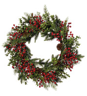 Berry & Pine Wreath - Red