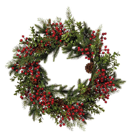 Berry & Pine Wreath Red