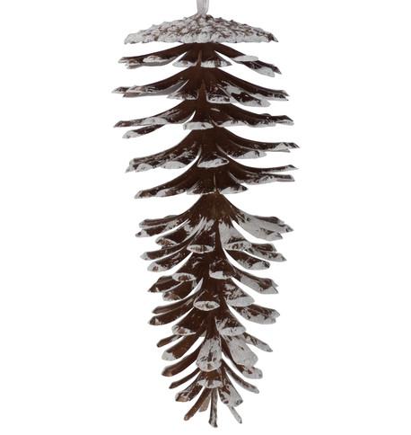 Large Glittered Espresso Pine Cones Espresso White